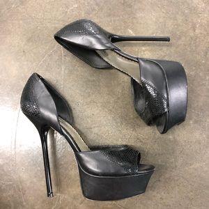 Bebe sexy black high heel platforms 8